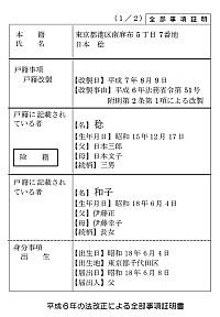 平成6年式戸籍事項証明書